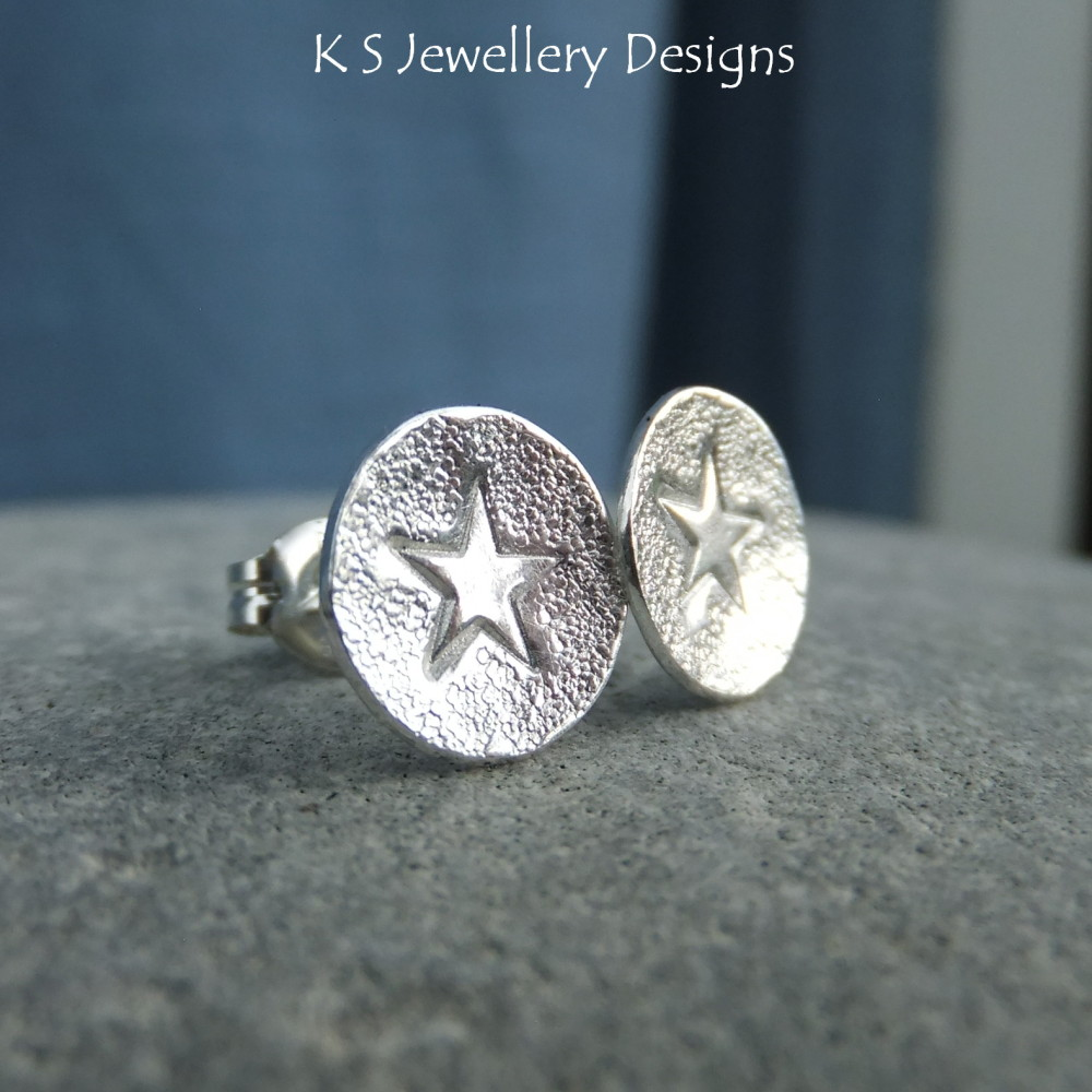 Stamped Star Sterling Silver Stud Earrings