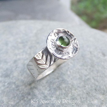Green Tourmaline Sterling Silver Forest Ring (UK size M / US size 6.25)