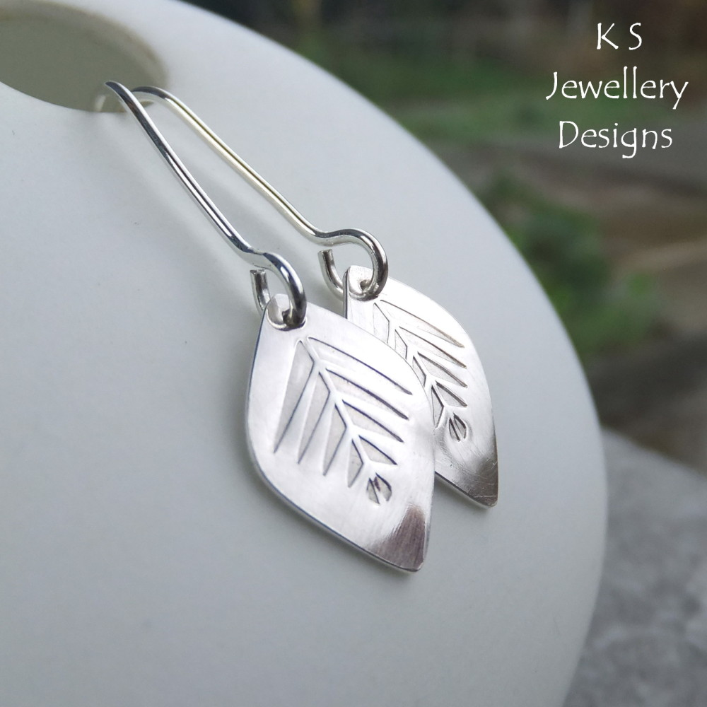 Sterling Silver Pine Forest Leaf Earrings