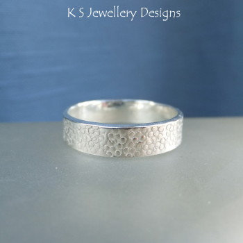 Sterling Silver Textured Wide Band Ring - BUBBLES (UK size M1/2 /US size 6.5)