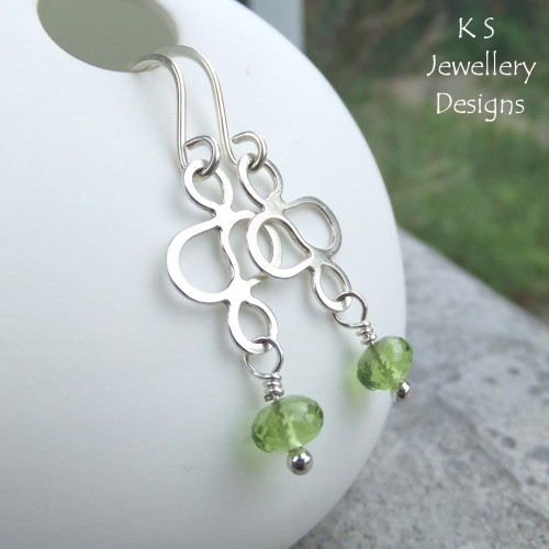 Peridot Sterling Silver Squiggle Earrings
