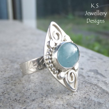 Aquamarine Embellished Sterling Silver Ring (UK size N / US size 6.75)
