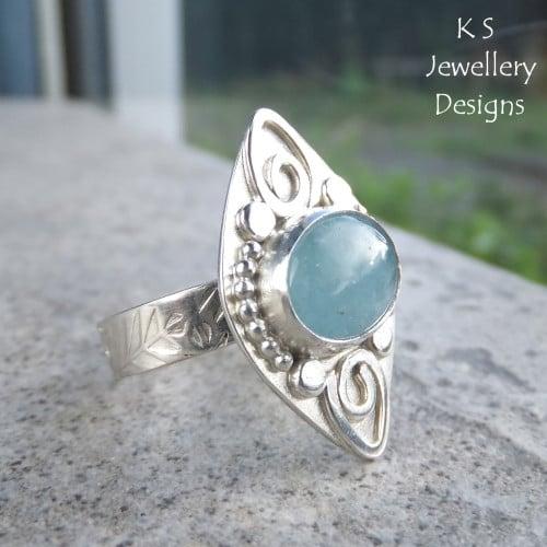 Aquamarine Embellished Sterling Silver Ring