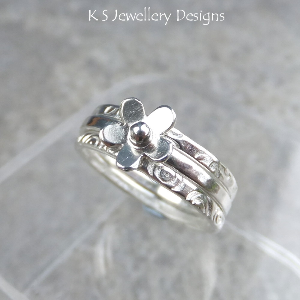 Tiny Flower Fine Silver Stacking Ring with 2 Textured Stackers