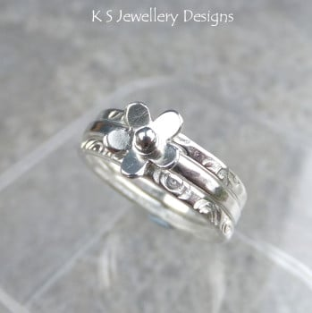 Tiny Flower Fine Silver Stacking Ring with 2 Textured Stackers  (made to order)