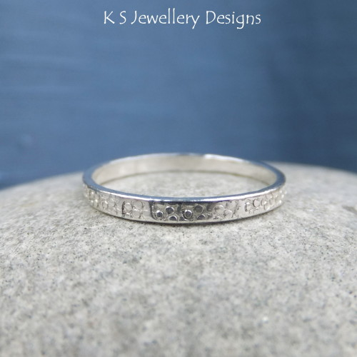 Fine Silver Stacking Ring - BUBBLES