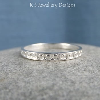 Fine Silver Textured Stacking 2mm Ring - LITTLE CIRCLES