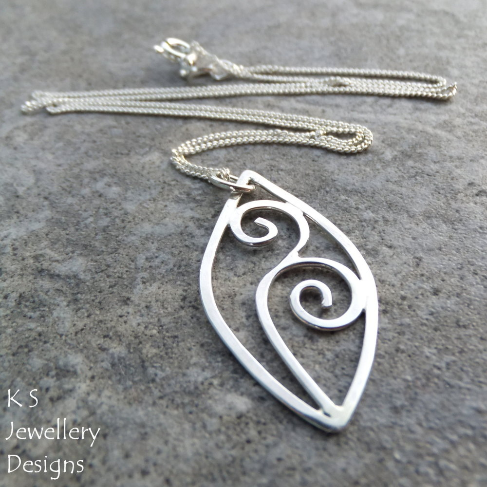 Leaf and Swirls Sterling Silver Pendant