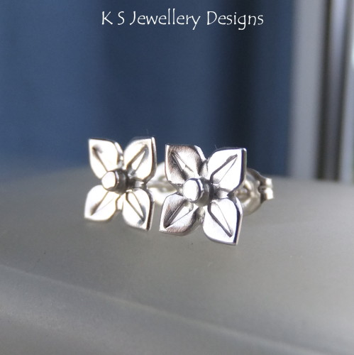 Sterling Silver Stud Earrings - Four Petal Flowers #1