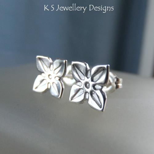 Sterling Silver Stud Earrings - Four Petal Flowers #2