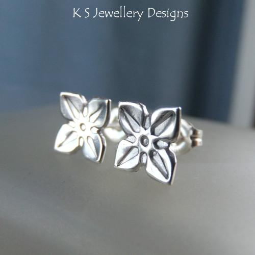 Sterling Silver Stud Earrings - Four Petal Flowers #2