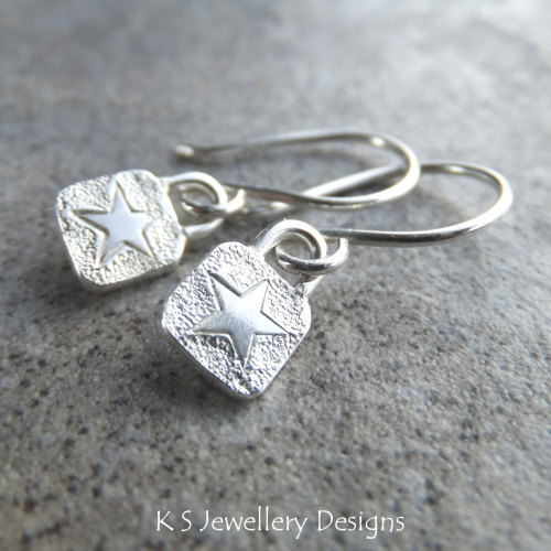Stamped Star Sterling Silver Square Earrings