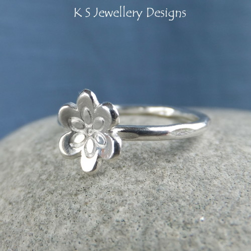 Six Petals Flower Sterling & Fine Silver Ring