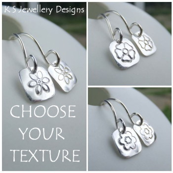 Stamped Flower Square Sterling Silver Earrings