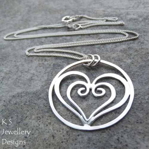 Heart In Heart Circle Sterling Silver Pendant