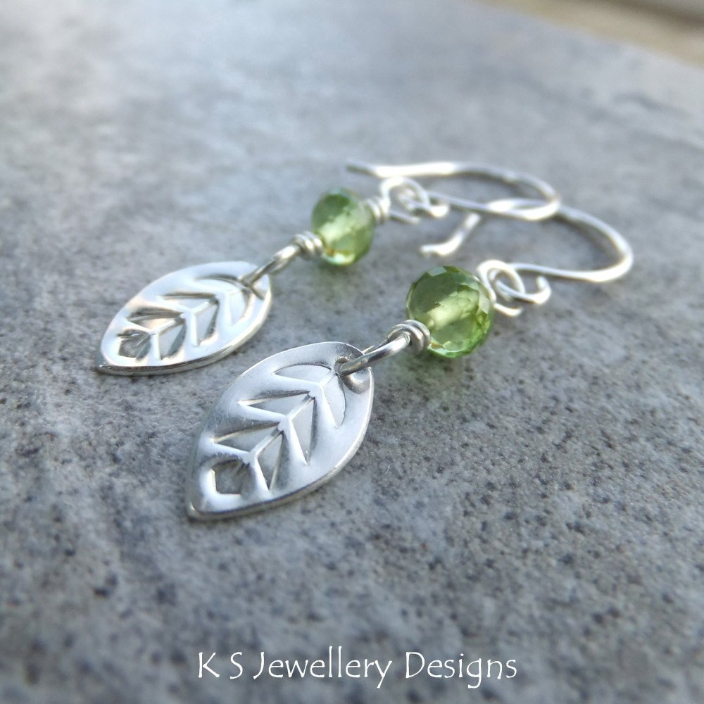Peridot Sterling Silver Leaf Drop Earrings - Spring Leaves