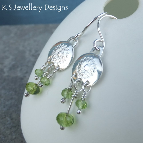Peridot & Sunflower Discs Sterling Silver Chandelier Earrings