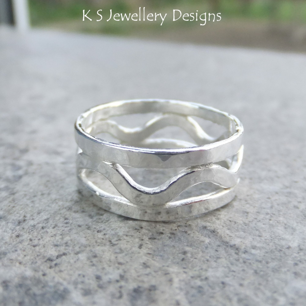 Dappled Waves Fine Silver Ring
