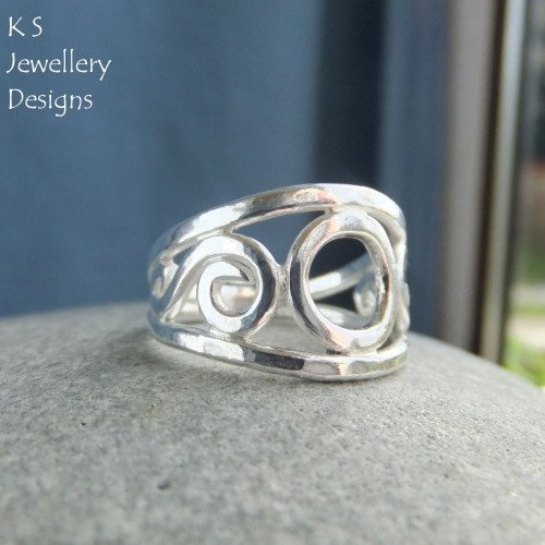 Circle and Swirls Fine Silver Ring