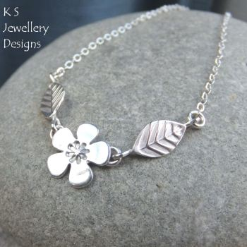 Cherry Blossom - Flower and Leaves Sterling Silver Necklace