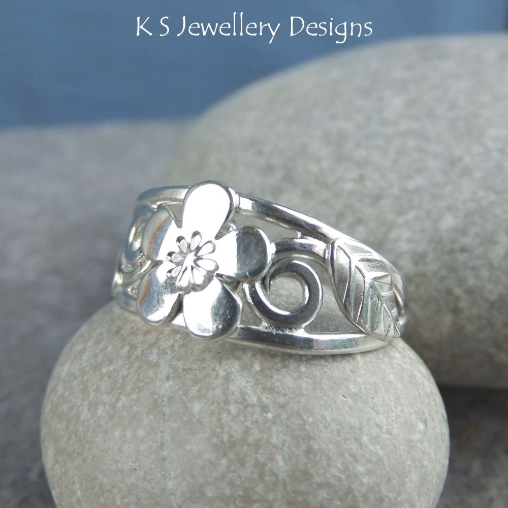 Cherry Blossom - Flower and Leaves Sterling Silver Ring