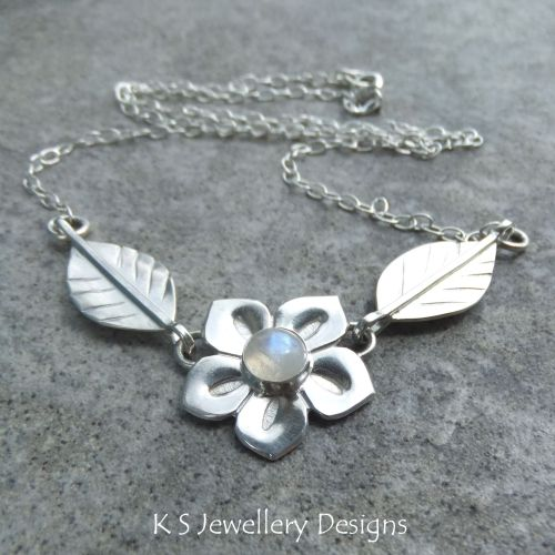 Rainbow Moonstone Flower and Leaves Sterling Silver Necklace