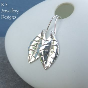 Sterling Silver Shiny Leaf Earrings