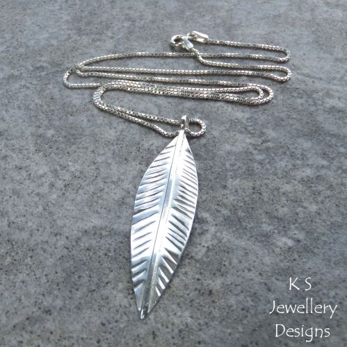 Sterling Silver Long Leaf Pendant