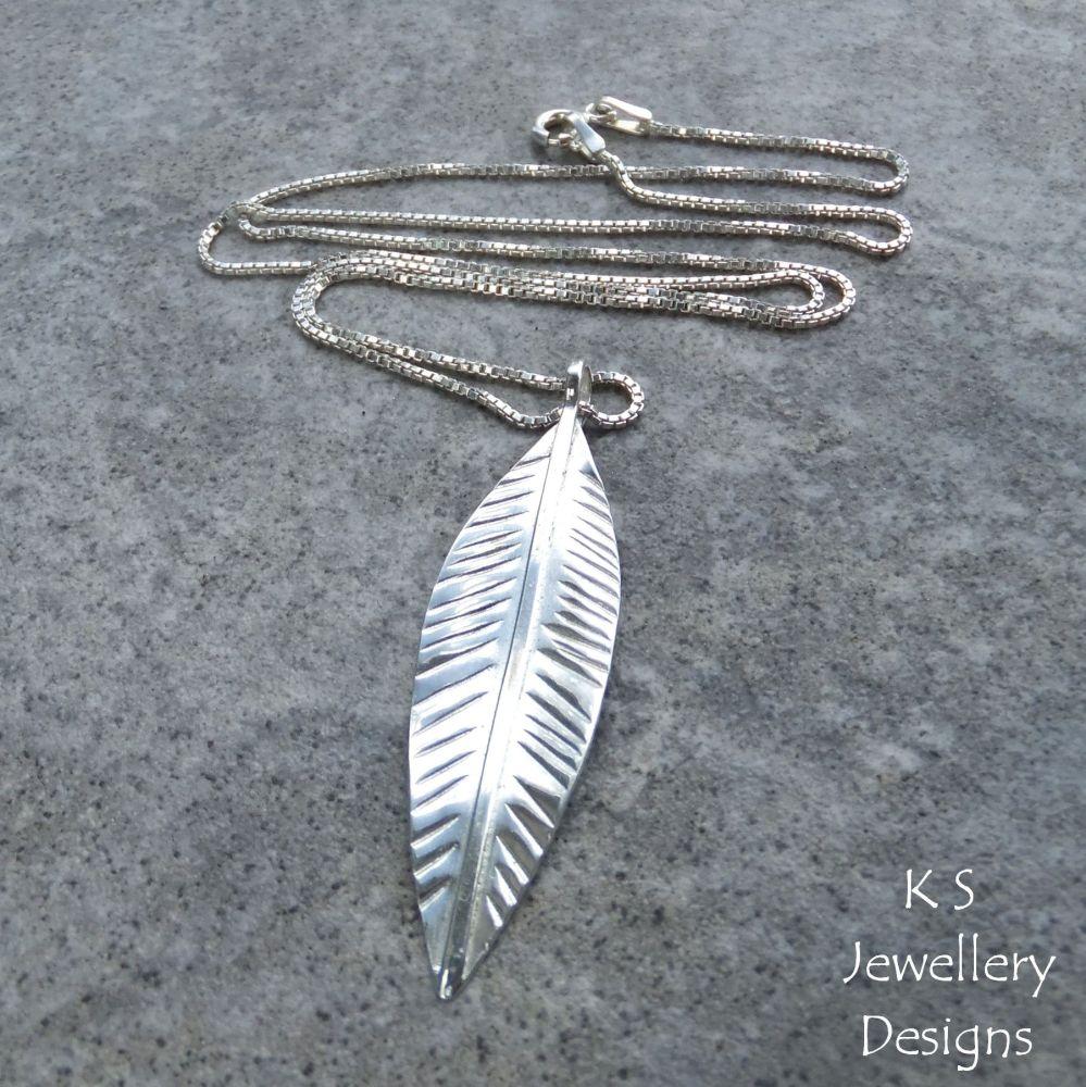 Sterling Silver Long Leaf Pendant