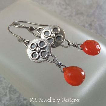 Carnelian Sterling Silver Embellished Disc Drop Earrings