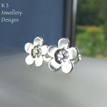 Cherry Blossom Sterling Silver Stud Earrings