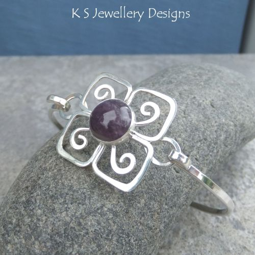 Amethyst Swirl Blossom Sterling Silver Bangle