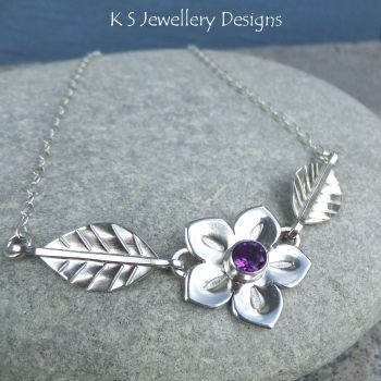Amethyst Flower and Leaves Sterling Silver Necklace