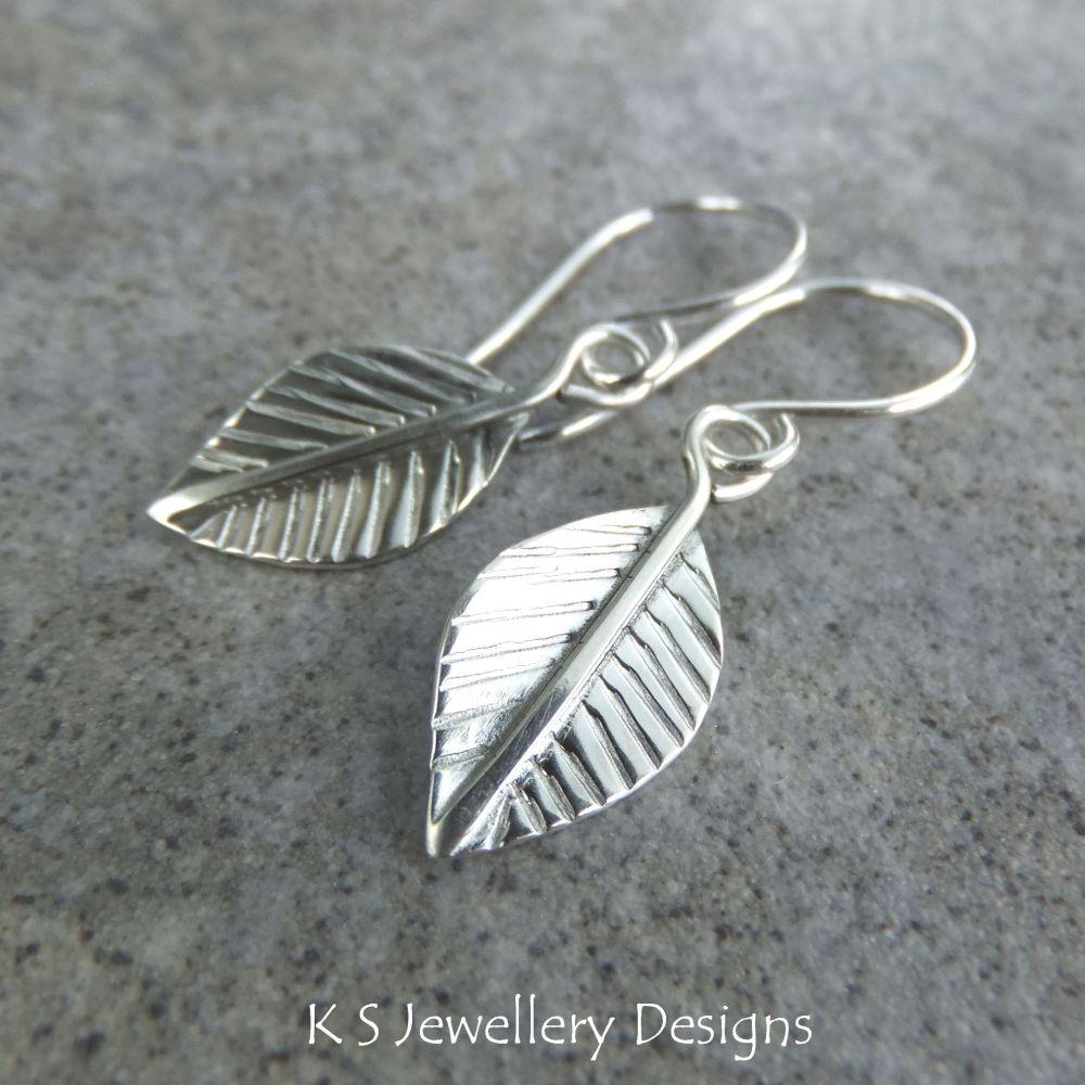 Sterling Silver Dangly Leaf Earrings