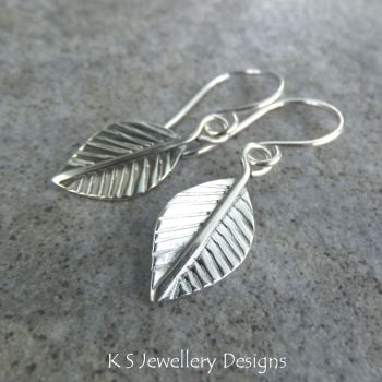 Sterling Silver Dangly Leaf Earrings