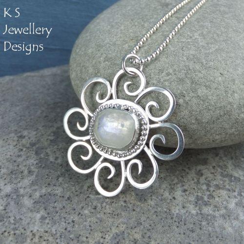 Rainbow Moonstone Sterling Silver Pendant - Sun Swirl