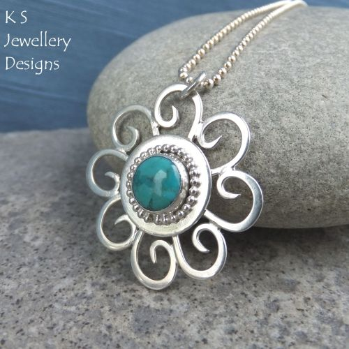 Turquoise Sterling Silver Pendant - Sun Swirl