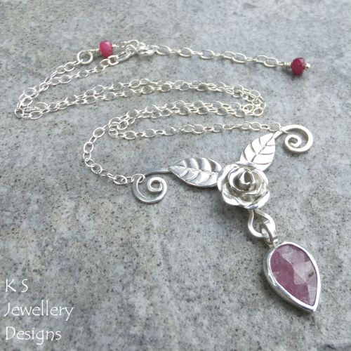 Pink Sapphire Rose, Leaves and Petal Sterling Silver Necklace