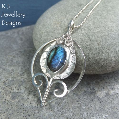 Labradorite Sterling Silver Flower Bud Pendant - Thistle