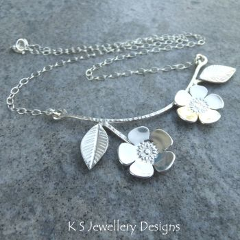 Flowering Branch Sterling Silver Necklace - Cherry Blossom