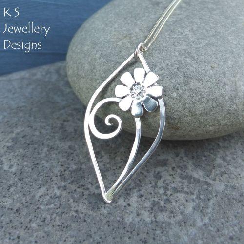 Daisy Swirl Leaf Sterling Silver Pendant