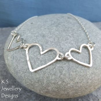 Wire Heart Trio Sterling Silver Necklace - Love Hearts