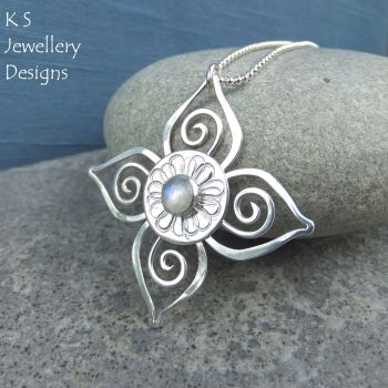 Rainbow Moonstone Sterling Silver Flower Pendant - Swirl Blossom