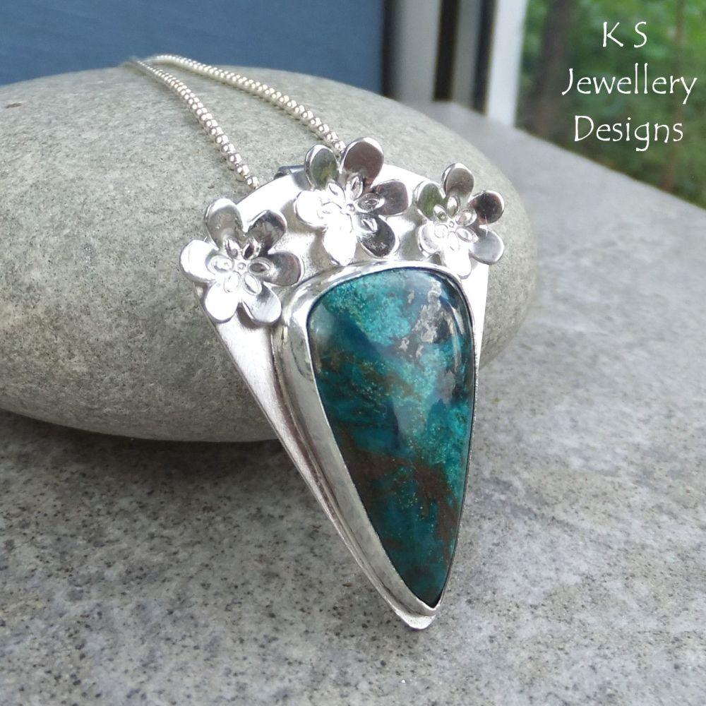 Chrysocolla Flower Adorned Sterling Silver Pendant