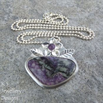 Charoite Flower & Leaves Adorned Sterling Silver Pendant