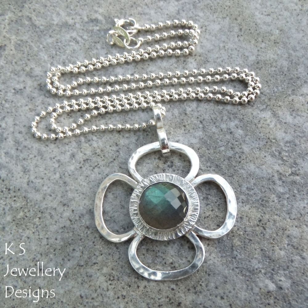 Labradorite Big Flower Sterling & Fine Silver Pendant