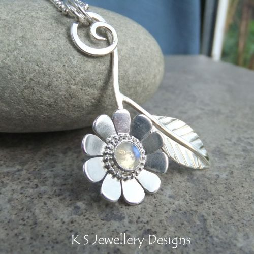 Rainbow Moonstone Daisy & Leaf Sterling Silver Pendant