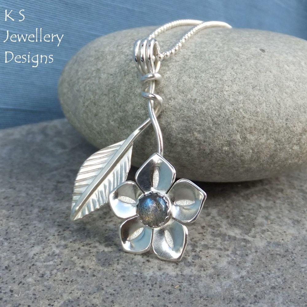 Labradorite Flower & Leaf Sterling Silver Pendant