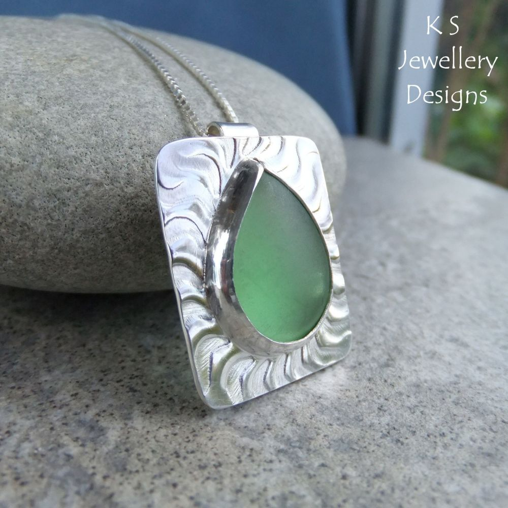 Green Glass Teardrop Wavy Textured Sterling Silver Pendant