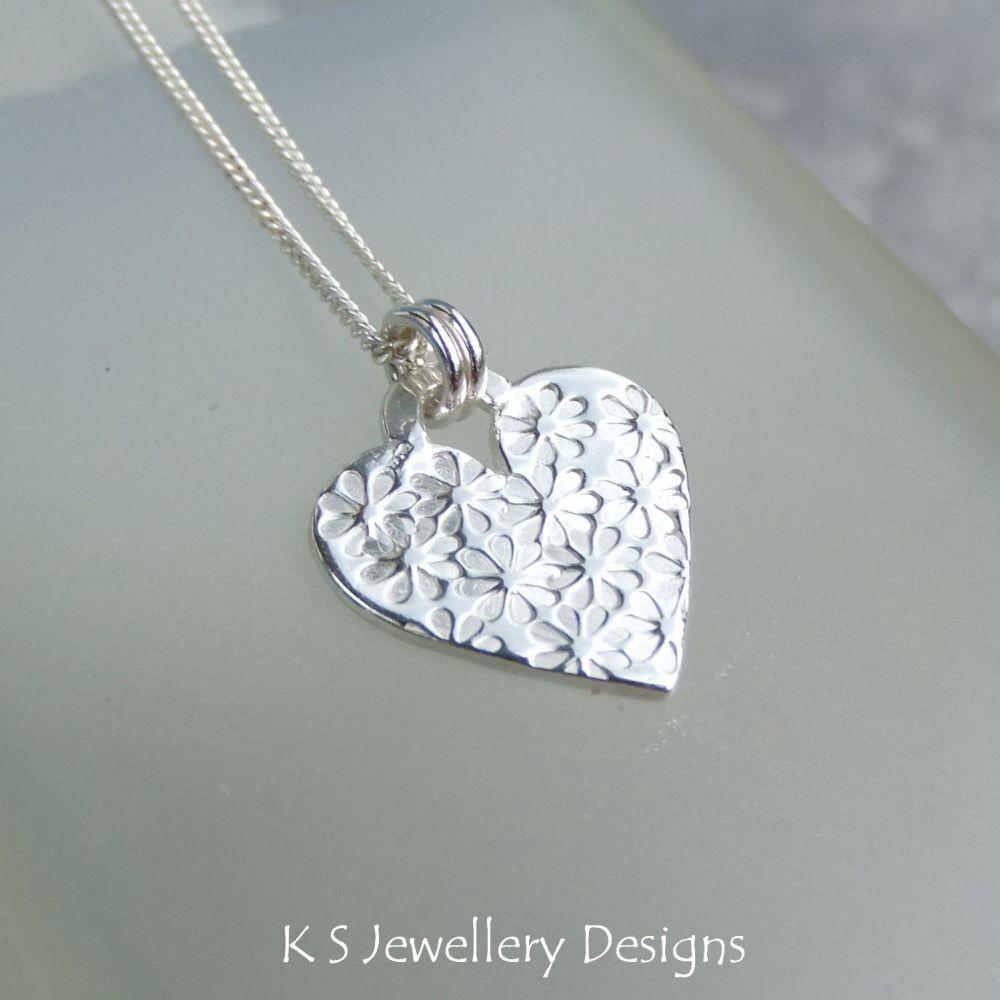 Flower Textured Sterling Silver Heart Pendant